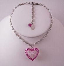 Tarina Tarantino Bambino Fushia Lucite Rose Heart Necklace