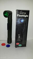 Camp Flashlight 3 Color Lenses Hunting Hiking Fishing Tracking Outdoors Gift x 2