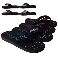 NEW Womens Star Studded Sandals Flat Flip Flop Thong Shoe Black Gold Pink Silver