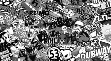 Nuevo Stickerbomb Hoja @ 200mm X 110 Mm Blanco Y Negro (libre de envío!!) Vw / / Drift / Jdm