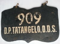 Antique Primitive Hand Painted Double Sided 909 D.P. Tatangelo, D,. D. S. Steel