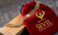 """Anklet With Diamond Cut Stations (10"""") Sevil 18K Gold Plated Rombo Chain"""