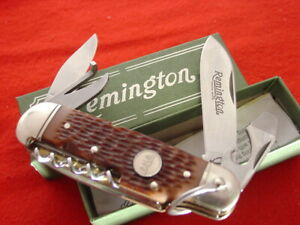 """Remington USA Made R3843 TRAILHAND Bullet 1996 Camp 3.75"""" Scouts knife MINT"""