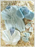 Baby all in one easy knitting pattern, DK, cardigan, sweater, booties, mittens.