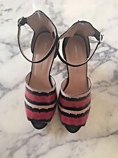 Loeffler Randal Red Multi Stingray & Snakeskin Embossed Cone Heel Platforms -  9