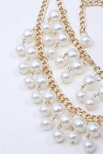 US Women`s Multi-Row Torsade Fringe White Pearl Bead Chain Bib Necklace Elegant