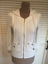 JUICY COUTURE VELOUR WHITE THREE QUARTER SLEEVE JACKET WITH HOOD SIZE SMALL NEW