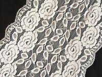 1 Meter breite elastische Tüll Spitzenborte 19.5 cm breit Cremeweiß Blumenmotiv