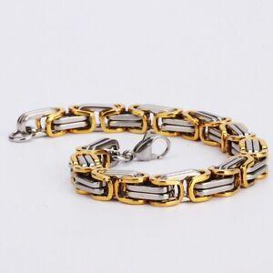 Heavy Titanium Steel Bracelet Men Biker Silver Plated Gold Plated Bracelets
