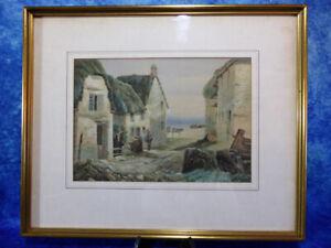"Watercolour Painting ""Fishing Village"" 19th Century School Original Picture Art"