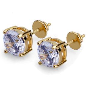 Women Men GOLD ROUND Clear CZ HIP HOP SCREW BACK STUD EARRINGS Gift Box 6mm