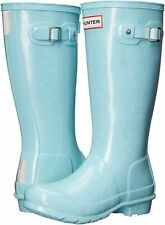 NEW Hunter Original Girls Glitter Rain Boots Blue Silver Pale RARE US 4 UK 3 36