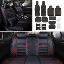 Us Deluxe Universal Pu Leather 5 Seats Car Front Rear Seat Cover Cushion Mat Pad