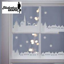 Christmas Village Scene Vinyl Stickers Decal Xmas Window Decoration 1 meter long
