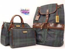 r2993 Auth Polo Ralph Lauren Green Plaid Canvas Backpack / Boston / Pouch 3 Set