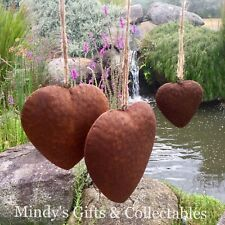 Set of 3 Handcrafted Rusty Metal Hearts Garden Pond Ornament Wedding Decor