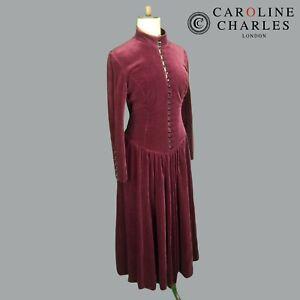 Caroline Charles Red Velvet Vintage Victorian Evening Dress Size 12 Edwardian