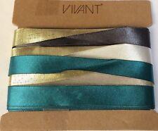 Vivant Ribbon Mix 4 x Metallic Gold & Satin 4 colour variety pack 8m 2 side face