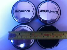 AMG REPLACEMENT CENTRE CAPS 60 MM SET OF 4 SILVER ON BLACK CAP
