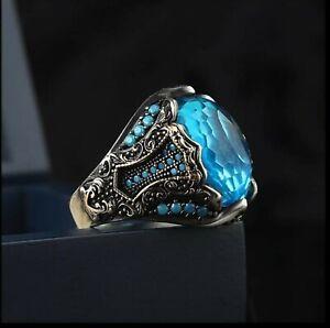 Men's Ring 925 Sterling Silver Turkish Handmade Jewelry Aquamarine    #TR998