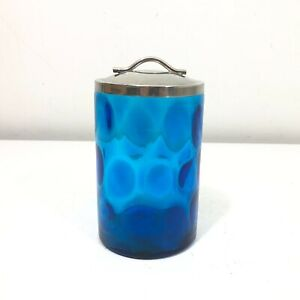 Vintage Blue Coin Dot Glass Jar/Canister w/Lid