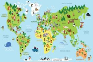 Cartoon World Map Children Animals Monuments Educational Mural Giant Poster 54x3