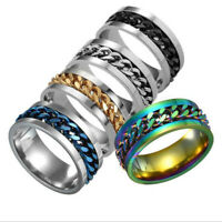 7Pcs Men Womens Titanium Stainless Steel Ring Rotatable Spinning Punk 6-12 Size