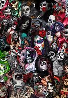 3 x A4 Sugar Skull Sticker Bomb Sheet JDM EURO DRIFT VW Laptop (205MM x 295MM)