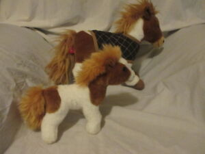 PLUSH PAINT HORSE & PONY FAO SCHWARZ 2015 TOYS R US White Brown 2 pieces