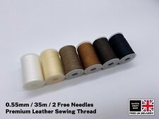 35m Super Strong Waxed Leather Sewing Thread 0.55mm Thick Plus 2 Free Needles