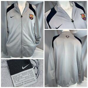 FCB Barcelona Nike Soccer Jacket XL Gray Poly Full Zip Sewn Logo EUC YGI C0-187