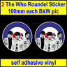 2 The Who 100mm RAF Roundel Mod Target Scooter stickers Vespa car decals bw pic