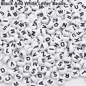 100Pcs Alphabet Letter Acrylic Flac Spacer Beads Bracelet Jewelry Making DIY
