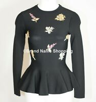 NEW Ted Baker Tynna Embellished Sweater in Black- Size 4 US 10 #TED201