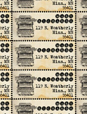 Custom Return Address Stamps - Typewriter / Writers - Gummed & Perforated