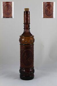 Flasche von / Aus Glas Amber Mit Leder Prägung Und Dekore Taurinas Und Flämische