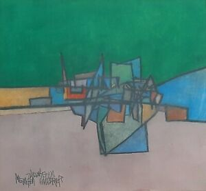 MENAHEM LEMBERGER (1938-1992), Gouache on Paper, Abstract Geometrical, Signed