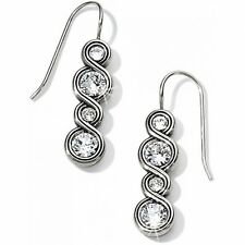 Dangle Silver White Swarovski Crystal Infinity Sparkle French Wire Earrings Drop