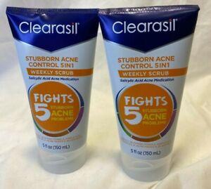 2x Clearasil Stubborn Acne Control 5 in 1 Weekly Scrub Salicylic Acid 5oz Face