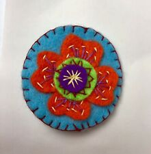 "brooch Turquoise Felt Floral Design Hand Embroidered 2.5""handmade"