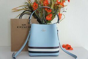NWT COACH C4080 Small Town Bucket Bag In Colorblock With Stripe Leather $378