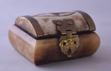 """Vintage Bone with brass Pill Box or Trinket Box Made in India.  2 1/4""""  x 1 3/4"""""""