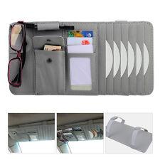 Grey Multifunctional Sun Visor Pouch Paper Tissue Card CD DVD Holder Bag Pocket