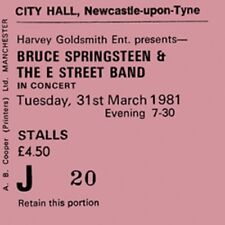 Bruce Springsteen and the E Street band Concert Coasters Ticket March 1981