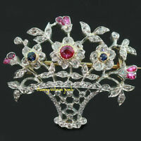 Victorian Style 3.90ct Rose Cut Diamond Silver Ruby Flower Party Brooch
