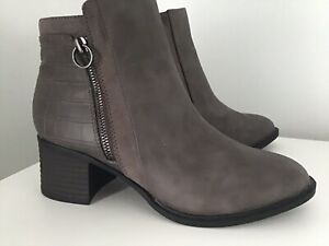 Ladies Ex Next Faux Leather Grey Ankle Boots Size 6 (39) BNWOT
