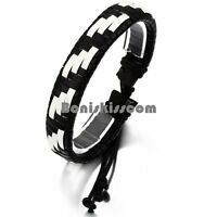 Braided Artificial Leather Handmade Surfer Adjustable Bracelet Blue / White