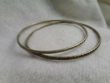 "LOT 2 VINTAGE NOS STERLING SILVER 2MM ETCHED TOP 7"" BANGLE BRACELETS"