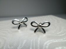 Authentic Tiffany & Co 925 Sterling Silver Ribbon Bow Stud Earrings