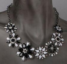 X593 Designer Collier schwarz rhodiniert Kristalle Kunststoffsteine
